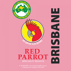 Brisbane Red Parrot Coffee blend label
