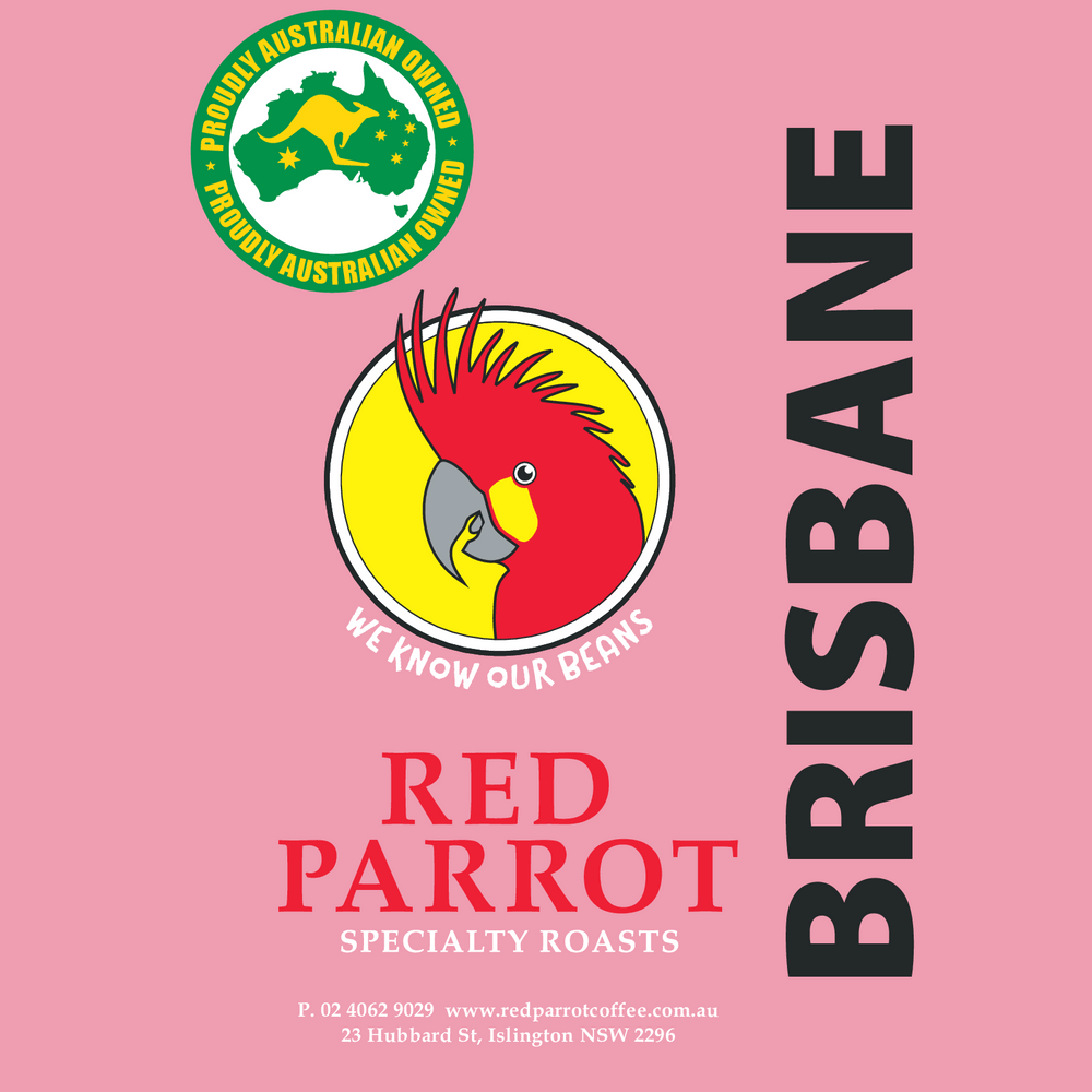 Brisbane Red Parrot Coffee blend label