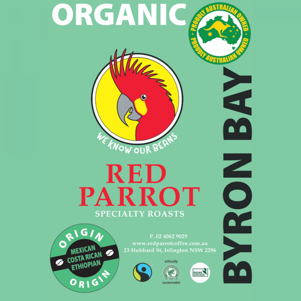 Byron Bay Organic Red Parrot Coffee blend label square