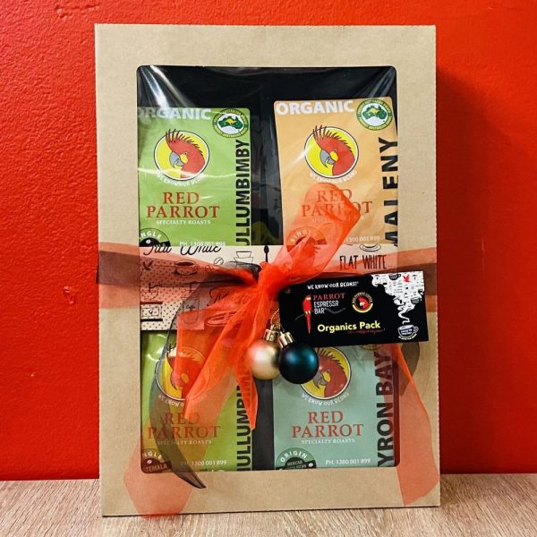 Gift pack with 4 varieties of premium 100% organic coffee beans