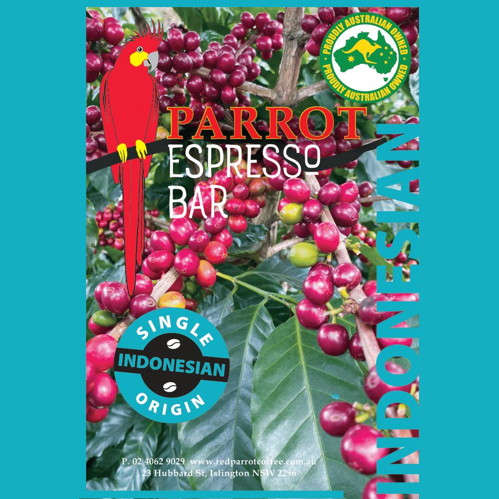 Indonesian Blue Bianca single origin coffee square label