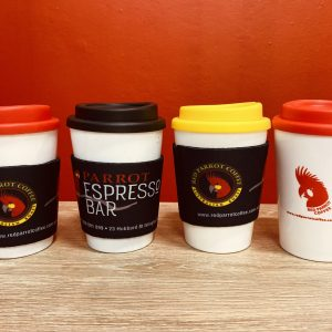 Coffee Keep Cups with Red Parrot - Espresso Bar branding