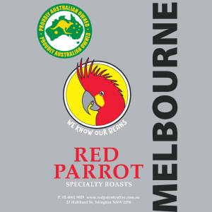 Melbourne Red Parrot Coffee blend label square