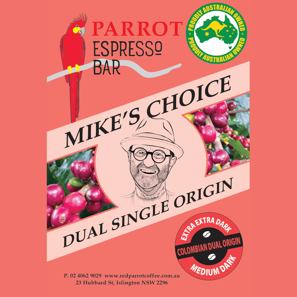 Mike's Choice of coffee - blend of dual single origin beans - red