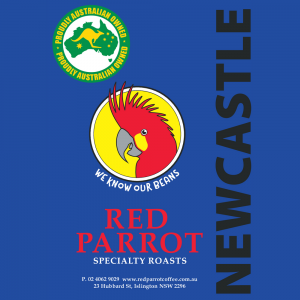 Newcastle Red Parrot Coffee blend label square