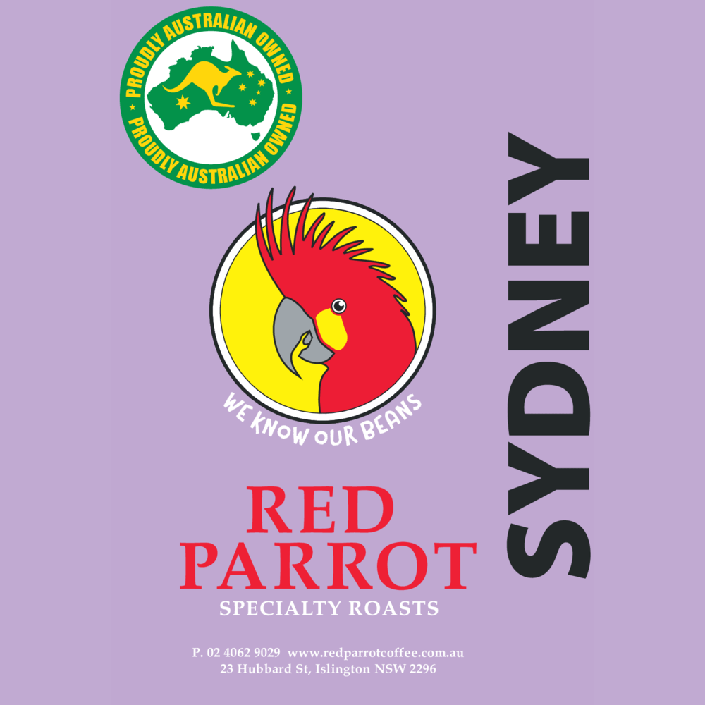 Sydney Red Parrot Coffee label square